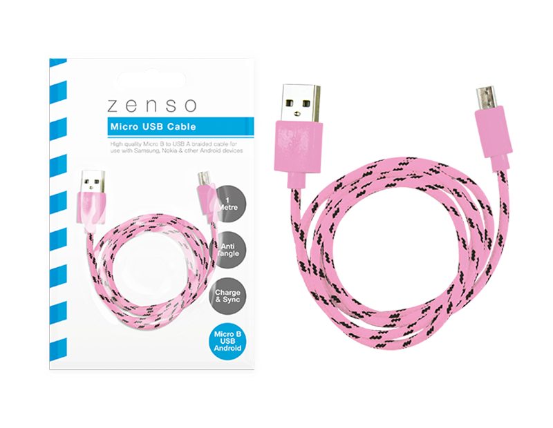 Micro Braided USB Cable 1m