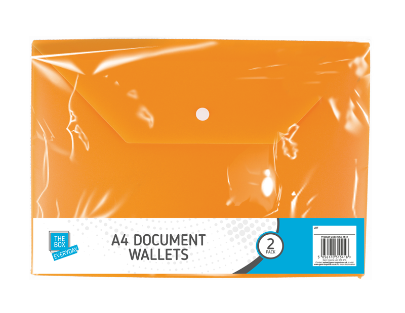 A4 Document Wallets - 2 Pack