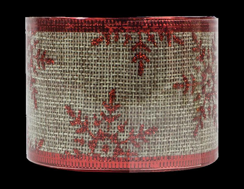 Christmas Glitter Hessian Ribbon