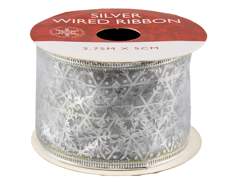 Silver Christmas Wired Ribbon