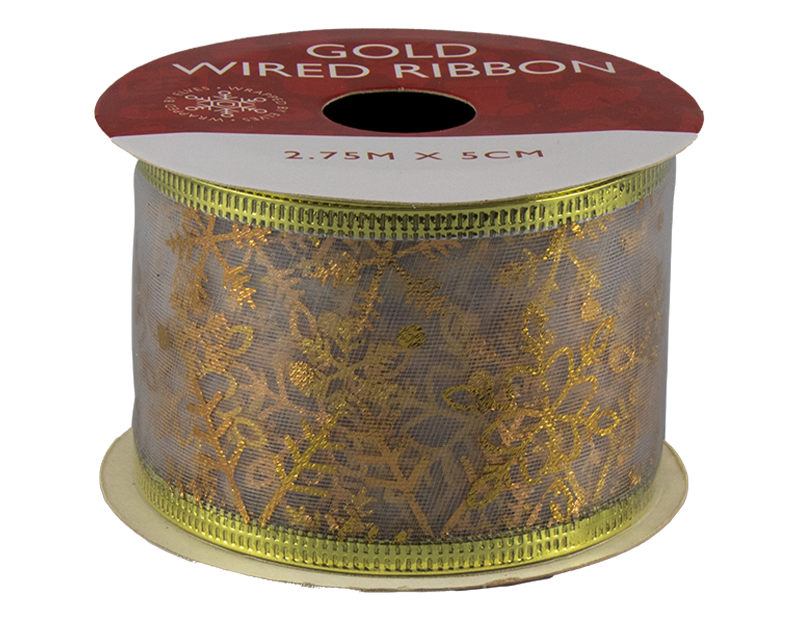 Gold Christmas Wired Ribbon