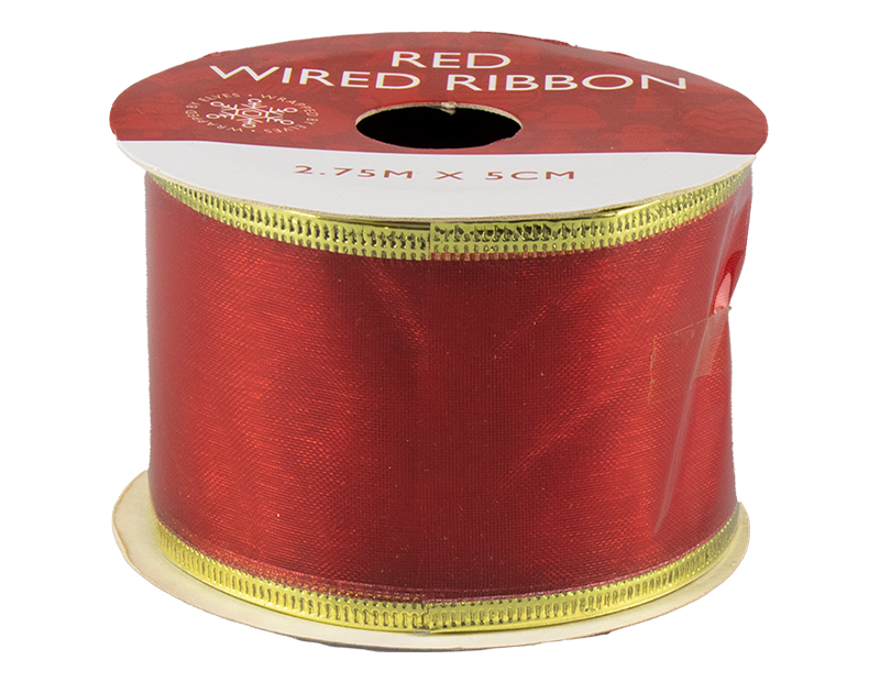 Red Christmas Wired Ribbon