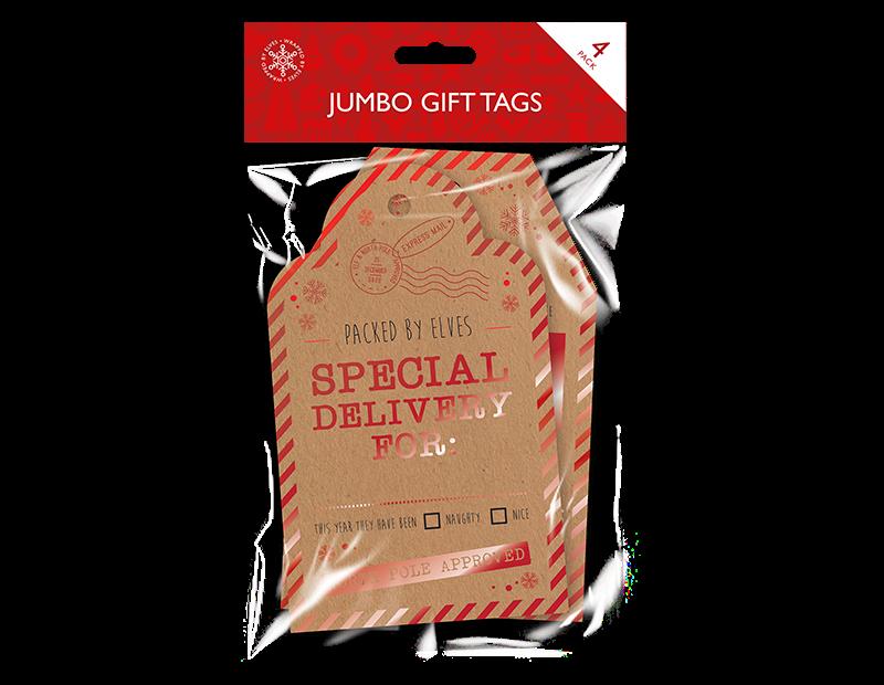 Christmas Jumbo Gift Tags - 4 Pack