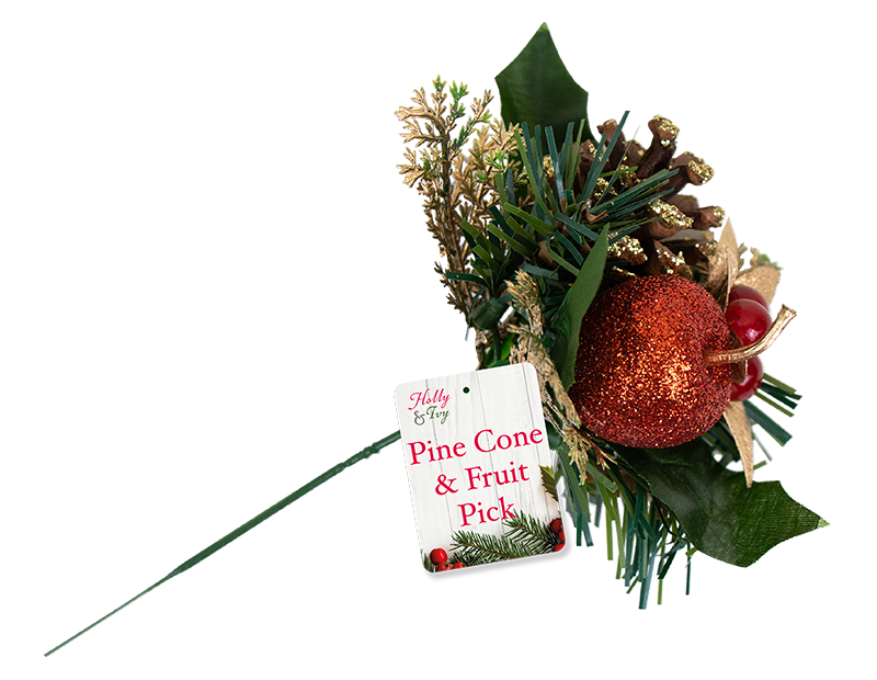 Christmas Pine Cone & Fruit Pick With PDQ