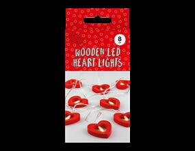 8 LED Wooden Heart Lights