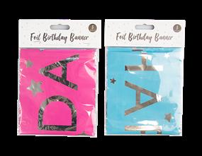 Wholesale Bright Foil Happy Birthday Banner  | Gem Imports Ltd