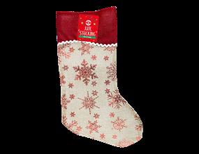 Christmas Jute Foil Printed Stocking