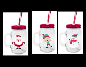 Wholesale Christmas Mason Jar & Straws | Gem Imports Ltd