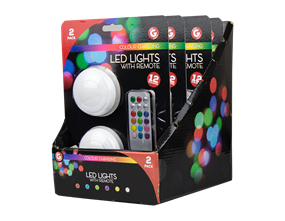 Remote Control Colour Changing LED Lights - 2 Pack