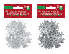 Wholesale Glitter Wooden Snowflake Toppers | Gem Imports Ltd