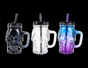 Wholesale Halloween Skull Jar With Lid & Straws | Gem Imports Ltd