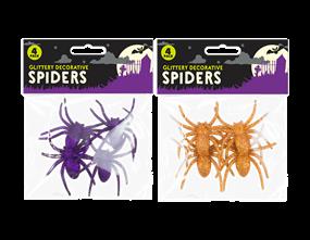 Halloween Glitter Spiders - 4 Pack