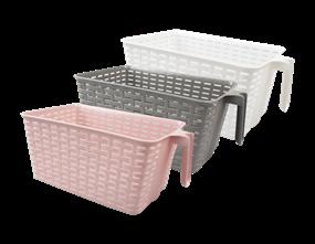 Wholesale Plastic Rattan Effect Storage Basket With Handle | Gem Imports Ltd