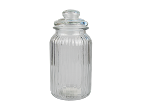 Ribbed Glass Jar with Lid 1295ml