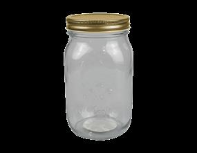 Glass Jar with Metal Screw Top Lid 1000ml