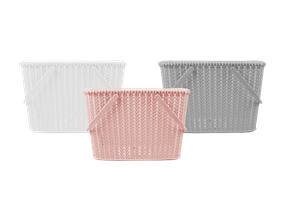 Plastic Woven Effect Basket with Handles - Trend 8L