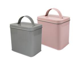 Square Metal Storage Tin with Lid - Trend 1.5L
