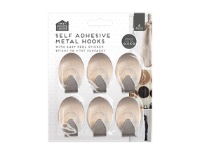 Metal Self-Adhesive Hooks 6pk