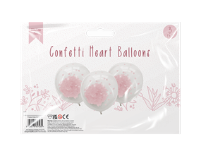 Mother's Day Confetti Heart Balloons 3pk