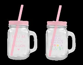 Mother's Day Mason Jar with Straw 450ML