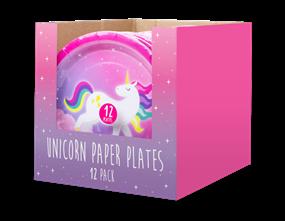 Unicorn Disposable Paper Plates 23cm - 12 Pack