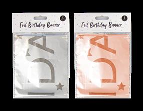 Wholesale Metallic Foil Happy Birthday Banner  | Gem Imports Ltd