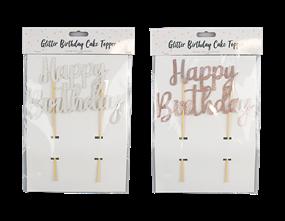 Wholesale Metallic Glitter Happy Birthday Cake Topper | Gem Imports Ltd