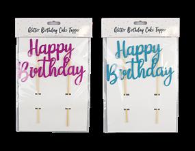 Wholesale Bright Glitter Happy Birthday Cake Topper | Gem Imports Ltd