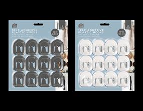 Plastic Self-Adhesive Hooks 12pk