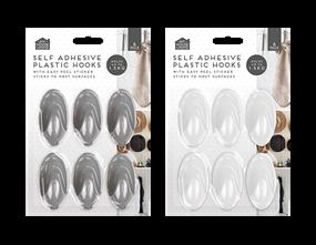 Plastic Self-Adhesive Hooks 6pk