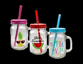 Wholesale Summer Mason Drinking Jar with Handle | Gem Imports Ltd