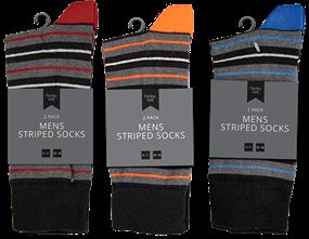 Mens Striped Socks 2 Pair