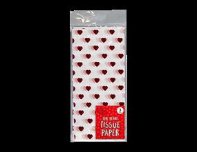 Foil Heart Tissue Paper 3 Sheet