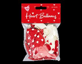 Heart Printed Balloons 10pk
