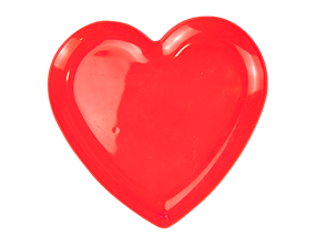 Red Plastic Heart Plate