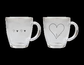 Valentine's Printed Glass Coffee Cup 350ML