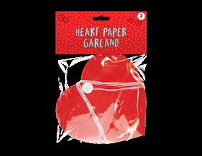Valentine's Paper Heart Garland 3M