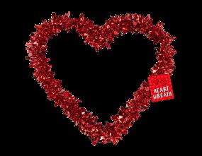 Valentine's Tinsel Heart Wreath 30cm
