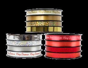 Metallic Christmas Ribbon 1cm x 5m - 4 Pack