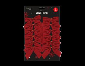 Red Velvet Christmas Bows - 12 Pack
