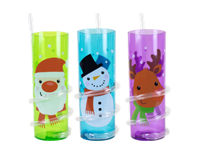 Wholesale Christmas Spiral Straw Tumblers | Gem Imports Ltd