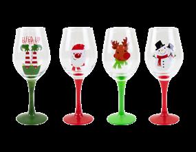 Wholesale Christmas Hand Painted Wine Glasses | Gem Imports Ltd