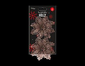 Wholesale Rose Gold Holly Decorations | Gem Imports Ltd