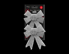 Wholesale Silver & White Glitter Tinsel Bows | Gem Imports Ltd
