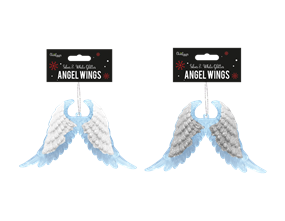 Wholesale Silver & White Glitter Acrylic Angel Wings   Gem Imports