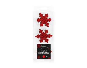 Wholesale Red Glittered Christmas Snowflakes | Gem Imports Ltd