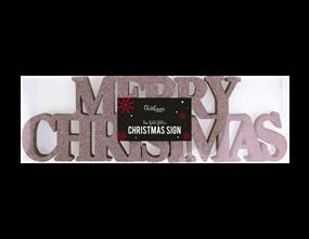 Wholesale Rose Gold Merry Christmas Glitter Signs | Gem Imports Ltd