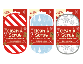 Wholesale Christmas 2 in 1 Antibacterial Scrubbing Pad | Gem Imports Ltd