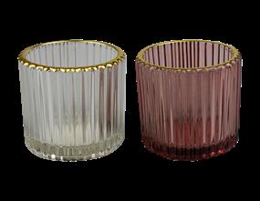 Wholesale Ribbed Gold Finish Tea Light Holders  | Gem Imports Ltd