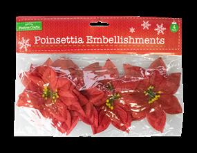 Wholesale Fabric Poinsettia Embellishments | Gem Imports Ltd